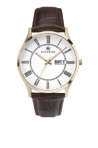 Accurist classic Brown Leather Strapped Gold Finish Men's Watch